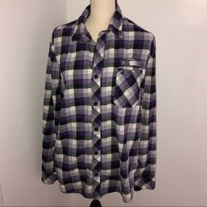 🥑 3/$25 Aeropostale purple plaid cotton shirt L